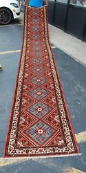 C 1930and039s Antique Rare Size_fine Lilihaan Malayeer Rug Runner 2.8x16.3