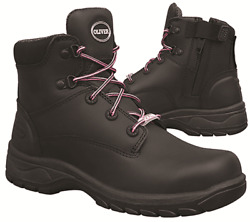 Oliver Womens Lace-up Safety Boots Full Grain Leather Black-size Au 5, 6, 7 Or 8