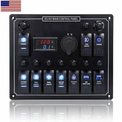 10 GANG ROCKER SWITCH PANEL CAR MARINE BOAT CIRCUIT LED BREAKER + VOLTMETER*~