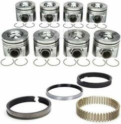 2008-2010 Ford 6.4l 6.4 Powerstroke Diesel Mahle Pistons And Rings .75mm .030 30