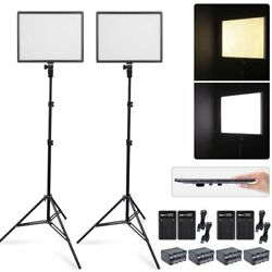 2X CN-Luxpad43 Slim LED Video Light Panel + 2X 2M Stand + 4X Battery