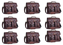 16 Inch  Large Leather Handmade Messenger Bag 5 PCS (Brown Free Shipping)