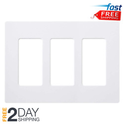Lutron Claro Switch Outlet Wall Plate Cover Oversized 3 Gang Decora - White