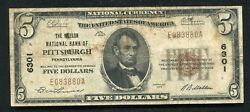 1929 5 The Mellon National Bank Of Pittsburgh, Pa National Currency Ch. 6301