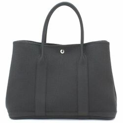 Auth HERMES Gardenparty Tote Bag Country Leather Black Purse 90054892