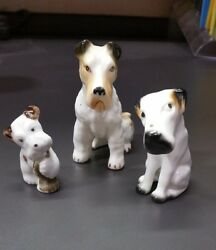 Set of Three Porcelain Dogs Fox Terrier Short Haired and Puppy  Collectibles