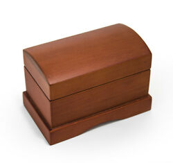 Matte Wood Tone Treasure Chest Simple 18 Note Music Ring Box