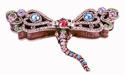 Hand Made Dragonfly Trinket Box. Made With Enamel And Colorful Crystals