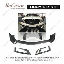 Carbon Kit For 13-16 W222 S63 Pre-Facelift Brabus Front Lip w Duct Canard w Vent