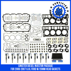 Sinister Diesel Injector Package for 2006-2007 6.0L Ford w20mm Head Gaskets