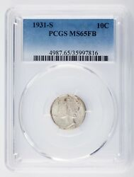 1931-s 10c Mercury Dime Graded By Pcgs As Ms65fb Full Bands Rare Strike