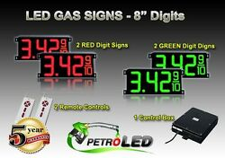 8 Led Gas Station Electronic Fuel Price Sign Digital Changer Complete Package