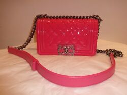 Chanel Pink Patent Leather Small Boy Tote Bag Messenger Excellent Condition