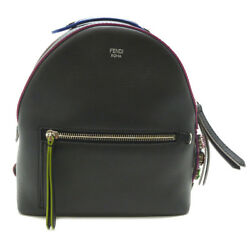 Auth Fendi Black Leather By The Way Mini Bagpack 8BZ036 (DH47470)