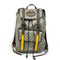 GUCCI Soft GG Supreme Backpack Hand Shoulder Bag 473869 Used Beige Yellow Red