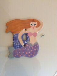Hand painted MERMAID LIGHT SWITCH PLATE cover ocean sea tropical girl bed room