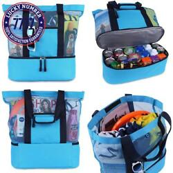 Mesh Beach Tote Bag With Zipper Top And Insulated Picnic Cooler With A Free Wate
