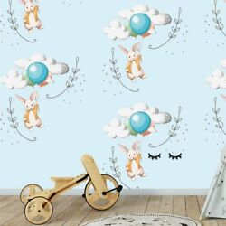 Animal Rabbit Balloon Clouds Wall Decor Kids Room Colorful Mural Wallpaper Z19