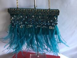 VALENTINO GARAVANI Turquoise Feather Beaded Evening Pouch Bag $2525