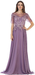 Elegant Formal Church Mother Of The Bride Groom Evening Gown Classy Long Dress