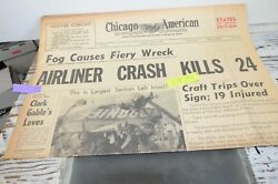 1955 Chicago American Newspaper Chicago Midway Braniff Airlines Crash Gable