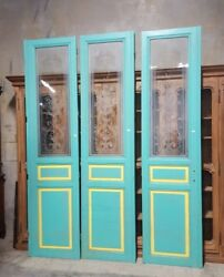 Set Of Three Salvaged Antique French Interior Doors With Etched Glass 9'6 Tall
