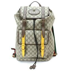 Auth GUCCI GG Supreme Backpack PVC Leather Beige 473869 213317 Purse 90056677