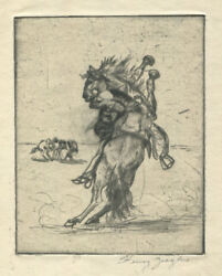 Henry Ziegler Pencil Signed Drypoint Etching Getting On A Bronc