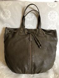 Nordstrom Brown Green Lambs Leather Drawstring Bucket Hobo Purse XL