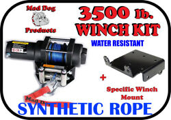 3500lb Mad Dog Synthetic Winch/mount Kit For 2002-2003 Polaris Pvt 4x4 / 6x6