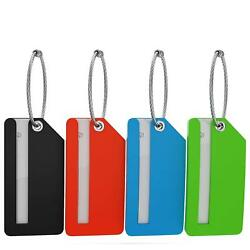 Small Luggage Tags - Fully Bendable Rubber Tags - Privacy Cover  Metal Loop - (