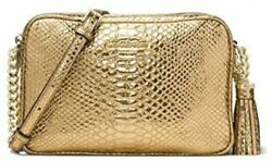 Michael Kors Ginny Large Embossed Leather Crossbody Camera Bag - Gold