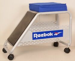 Vintage Reebok Rolling Shoe Fitting Stool 70s 80s Store Display Blue Seat Rare