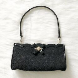 Brighton Clutch Wristlet Black Lace and Patent Leather Silver Clasp Evening Bag