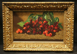 19th Or Early 20 Century Cherry's Still Life Painting Elaborated Gold Leaf Frame