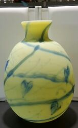 Fenton Art Glass Willow Green And Blue Hearts Hanging Hearts Vase 10 Inches Tall