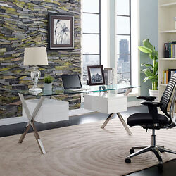 Modern Sleek Office Computer Desk With Clear Tempered Glass Top And White Drawers