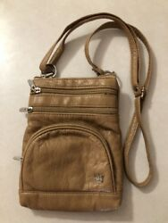 "Purse King Vegan leather very soft Crossbody Purse pouch Brown Tan color 6""x8"" $12.99"