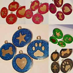 Luxury Glitter Stainless Steel Dog Tags 6 Colours And 4 Logos Bling For Dogs