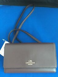 COACH F65558 SMOOTH LEATHER CONVERTIBLE PHONE CROSSBODYCLUTCH IN OXBLOOD $135
