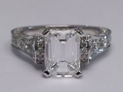 Forever One Emerald Moissanite Graduated  Diamond Engagement Ring in Platinum