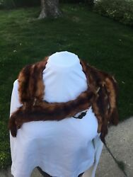 Vintage Brown Mink Stole 1940s Taxidermy 5 Full Body Pelts Soft Fur Collar Wrap