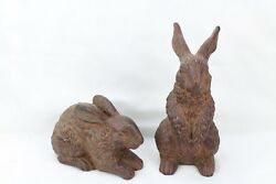 Large Chalkware Rabbit Decorations Brown W/flower Necklace Lot Of 2 Bunny