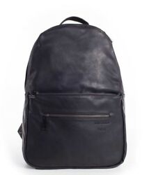 NEW Fawn Design Black Matte Faux Leather w Antique Gold-Hued Zippers Backpack