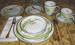 Anna Weatherley White Tulips Dinnerware Plates, Bowls, Teacup And Saucer And Mug