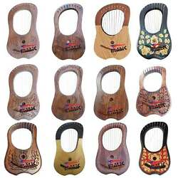 Traditional Lyre Harp 10 Metal Strings Various Designs with Free Bag Tuning Key