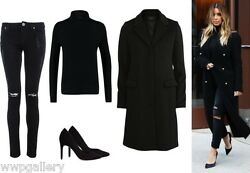 MICHAEL KORS SHEARLING FUR COAT BLACK COLOR MADE IN ITALY SIZE M  S TWO POCKET