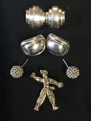 Vintage Silver Tone Earring Lot And Brooch