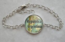 Choose South American City Or Country Vintage Map 925 Sterling Silver Bracelet
