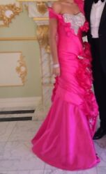 Haute Coutre Custom Evening Gown Hot Pink Sz 2